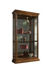 Lighted Sliding Door 4 Shelf Curio Cabinet in Golden Oak Brown Product Image