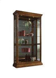 Lighted Sliding Door 4 Shelf Curio Cabinet in Golden Oak Brown Product Image