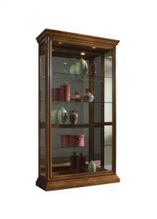 Lighted Sliding Door 4 Shelf Curio Cabinet in Golden Oak Brown