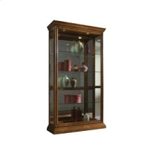 Lighted Sliding Door 4 Shelf Curio Cabinet in Golden Oak Brown