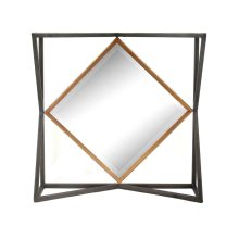 Black/gold Square Metal Mirror, Wb