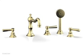 HENRI Deck Tub Set with Hand Shower with Lever Handles 161-49 - Polished Brass
