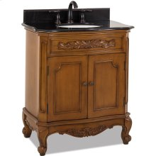 "30-1/2"" vanity with warm caramel and carved floral onlays and French scrolled legs with preassembled top and bowl."