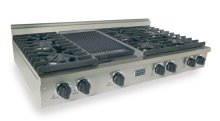 "48"" Gas Cooktop, Sealed Burners, Stainless Steel"