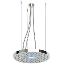 (dia) 500 mm hanging stainless steel multifunction shower system with two rain jets, light and transformer. To be combined with 2 built-in stop valves to select the jets. To be combined with a switch. Minimum flowrate requested: outer jet 12 lt. / min. - central jet 9 lt. / min.