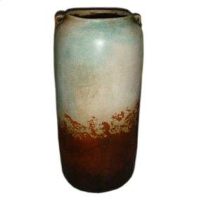 "Water Blue: 2 Handled Cilinder Jar / 28"" H"