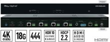 2x4 4K/18G POH/HDBT/HDMI Distribution Amplifier/Switcher with Audio De-Embedding (Includes KIT 4 Rx 100m Meters Extenders)