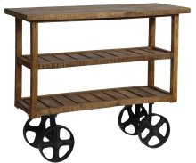 Bengal Manor Mango Wood Industrial Cart