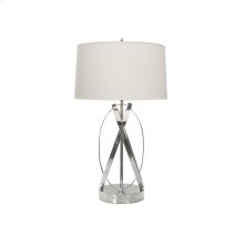 "Nickel Plated Oval Lamp Base With 15"" Parchment Shade Ul Approved for One 60 Watt Bulb"
