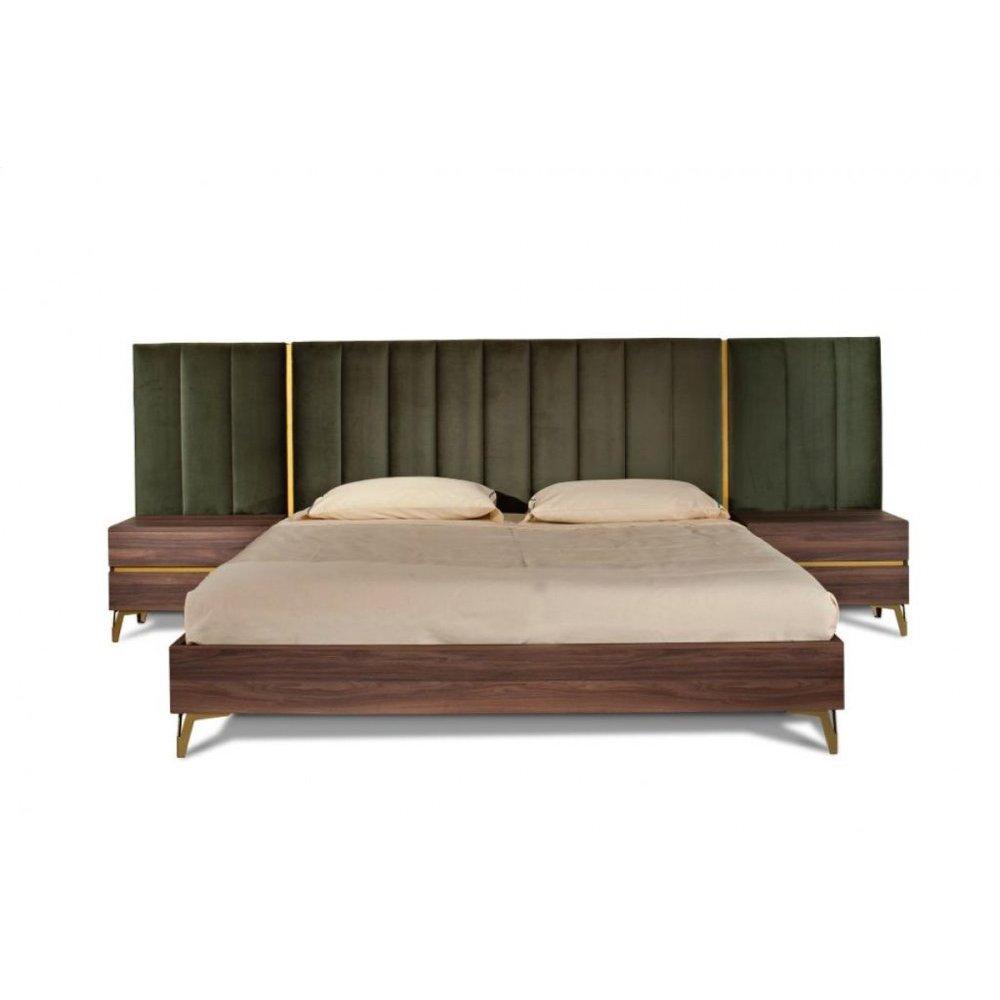 Nova Domus Calabria Modern Walnut & Green Velvet Bed & Nightstands
