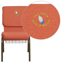 Embroidered HERCULES Series 18.5''W Cinnamon Fabric Church Chair with 4.25'' Thick Seat, Book Rack - Gold Vein Frame