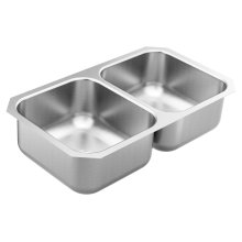 1800 Series 31.75 x 18.25 stainless steel 18 gauge double bowl sink