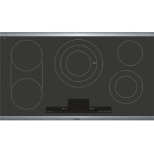 """Benchmark® 36"""" Touch Control Electric Cooktop, NETP668SUC, Black with Stainless Steel Frame"""