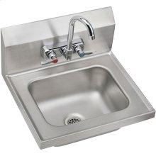 "Elkay Stainless Steel 16-3/4"" x 15-1/2"" x 13"", Single Bowl Wall Hung Handwash Sink Kit"