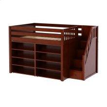 Mid Loft w/ Staircase on End, 8 Shelf Bookcase & 4-1/2 Drawer Dresser : Full : Chestnut : Panel