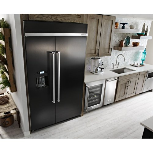 29.5 cu. ft 48-Inch Width Built-In Side by Side Refrigerator with PrintShield Finish - Black Stainless Steel with PrintShield™ Finish