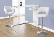 "HOME BAR - 48""L / GLOSSY WHITE / CHROME / TEMPERED GLASS"