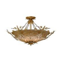 Primrose 6 Light Faceted Crystal Gold Semi-Flush