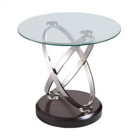 Emerald Home Vision Round End Table W/glass Top Brown T7112-1