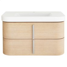 """Equility 33"""" Wall-Hung Vanity - Canvas White/Natural Oak"""
