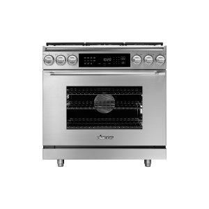 "Dacor36"" Heritage Dual Fuel Epicure Range, Silver Stainless Steel, Natural Gas/High Alttitude"