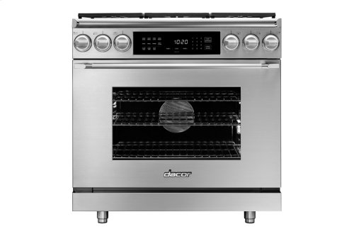"36"" Heritage Dual Fuel Epicure Range, Silver Stainless Steel, Natural Gas/High Alttitude"