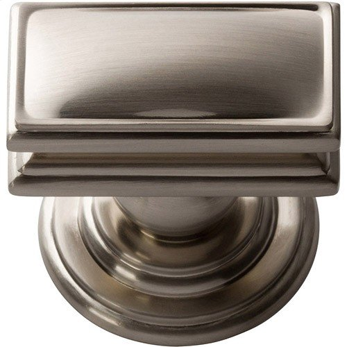 Campaign Rectangle Knob 1 1/2 Inch - Brushed Nickel