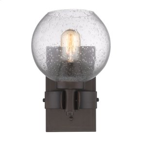 Galveston 1 Light Wall Sconce in Rubbed Bronze with Seeded Glass