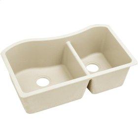"""Elkay Quartz Luxe 32-1/2"""" x 20"""" x 10"""", 60/40 Double Bowl Undermount Sink, Parchment"""