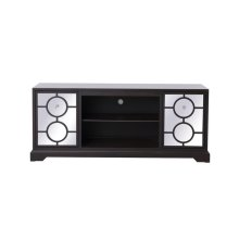 """Sleek and vibrant, this transitional media cabinet will make a striking statement in any room. The cabinet top can showcase up to a 60"""" flat screen TV at a perfect height, featuring top-quality mirror panel with circle overlay and hand-painted dark walnut finish, accentuated with crystal square knobs. Functional and chic, features 2 side doors, […]"""