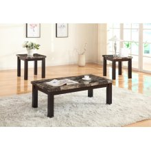 3PC FAUX MARBLE C/E TABLE SET
