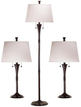 Park Avenue - 3-Pack - 2 Table Lamps, 1 Floor Lamp