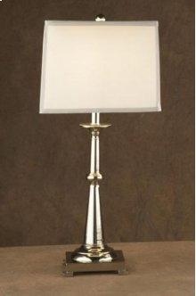 Large Candlestick / Chrome / Square Shade Lamp