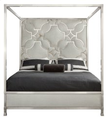 King-Sized Domaine Blanc Upholstered Metal Canopy Bed