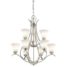 Keiran Collection Keiran 9 Light 2 Tier Chandelier - Brushed Nickel