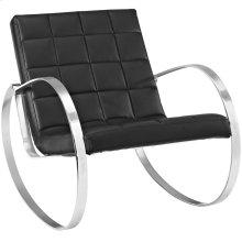 Gravitas Upholstered Vinyl Lounge Chair in Black