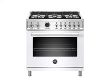 36 inch Dual Fuel Range, 6 Brass Burner, Electric Self-Clean Oven White