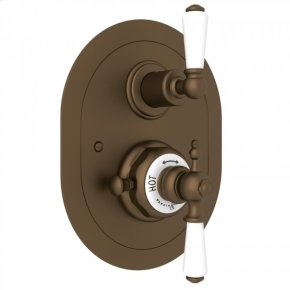 English Bronze Perrin & Rowe Edwardian Era Oval Thermostatic Trim Plate With Volume Control with Metal Lever