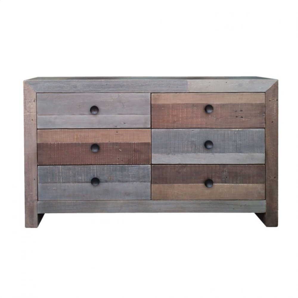 Vintage 6 Drawer Dresser Grey