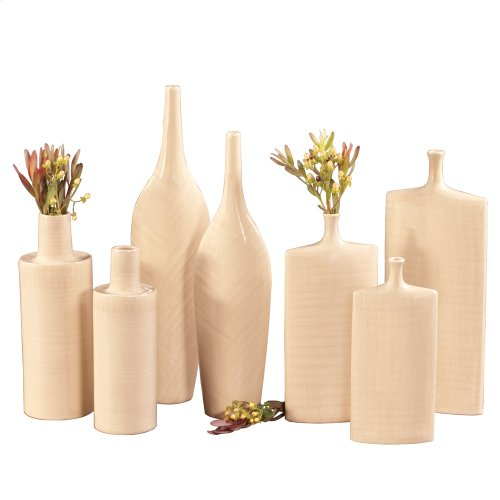 Cream Glaze w/ Crosshatch Detail Ceramic Vases - Set of 2