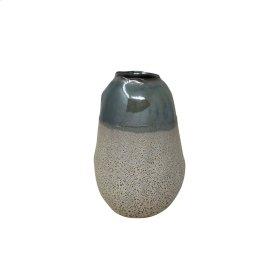 """Ceramic 8.25"""" Organic Vase , Blue"""