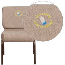 Embroidered HERCULES Series 21'' Extra Wide Beige Fabric Stacking Church Chair with 4'' Thick Seat - Copper Vein Frame