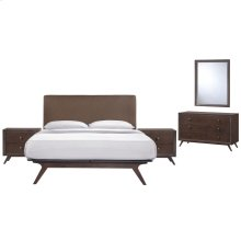 Tracy 5 Piece Queen Upholstered Fabric Wood Bedroom Set in Cappuccino Brown