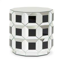 Round Silver Prisim Mirrored End Table