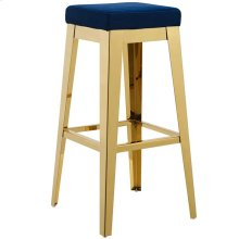 Arrive Gold Stainless Steel Upholstered Velvet Bar Stool in Gold Navy