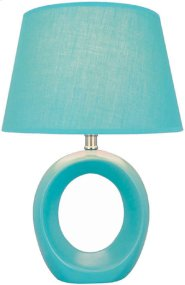 Table Lamp, Blue Ceramic Body, Fabric Shade, E27 Cfl 13w Product Image