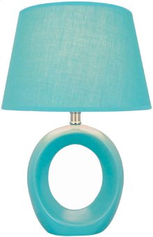 Table Lamp, Blue Ceramic Body, Fabric Shade, E27 Cfl 13w