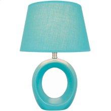 Table Lamp, Blue Ceramic Body, Fabric Shade, E27 Cfl 13w