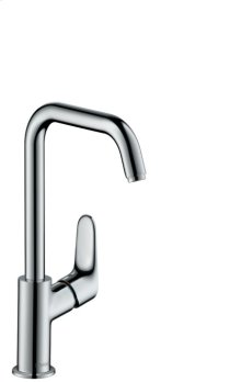 Chrome Single-Hole Faucet 240 with Swivel Spout and Pop-Up Drain, 1.2 GPM