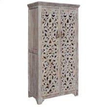 Bengal Manor Mango Wood Hand Carved Open Design 2 Door Tall Cabinet